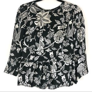 Isabel Marant Floral Ruffled Hem Zip Up Blouse